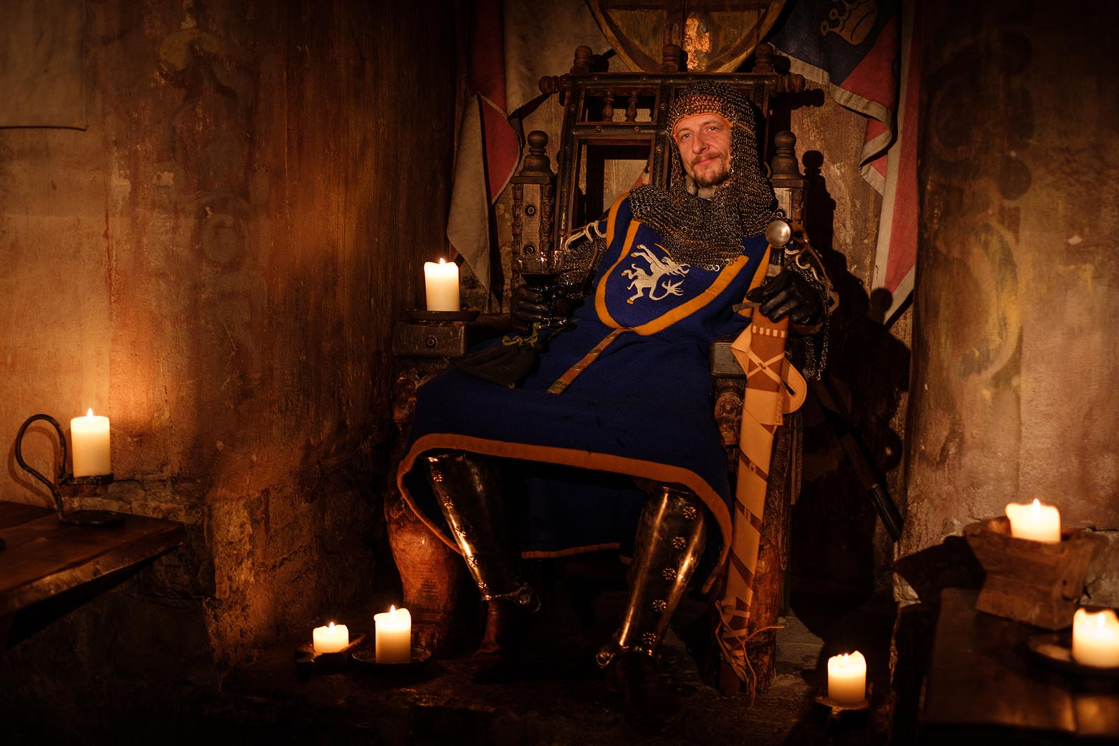 Content King Sitting on Throne